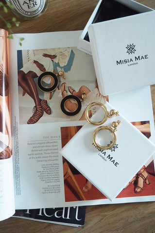 Golden and Black Hoop Earrings by Misia Mae