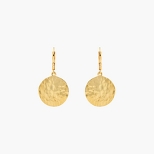 Load image into Gallery viewer, Lever Back Hammered Gold Circle Earrings for Women - Misia Mae London