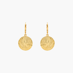 Lever Back Hammered Gold Circle Earrings for Women - Misia Mae London