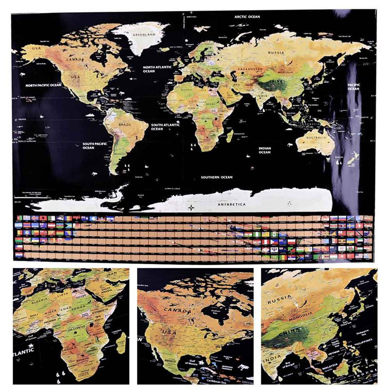 **SPECIAL** Deluxe Scratch Off World Map 82.5 x 59.5cm in TUBE