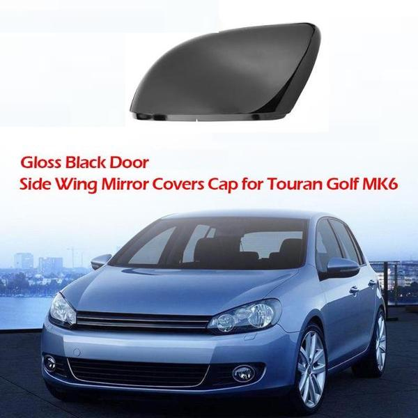 Right Side Black Door Wing Mirror Cover Cap for Touran 01-14 Golf MK6 09-13