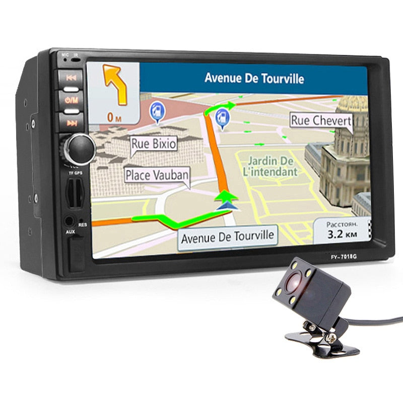 "Car Stereo Double DIN 7"" Head Unit, Navigation, GPS NZ Map + Camera, Touch Screen Bluetooth Car Radio Player"