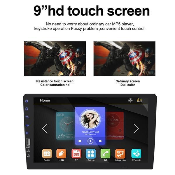9 Inch Car Stereo 1 DIN Head Unit, Mirror Link, Bluetooth, Radio, Video Player