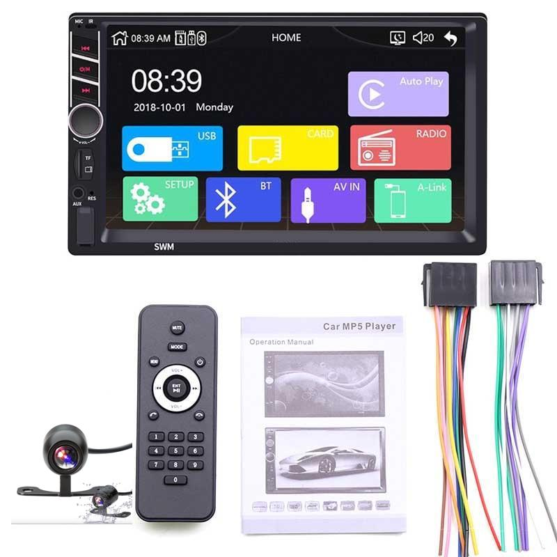 "2 Din Stereo With Apple Carplay + Android Auto + Camera Auto MP5 Video Player Bluetooth Handsfree USB 7"" Touch Screen Stereo Audio Head Unit"