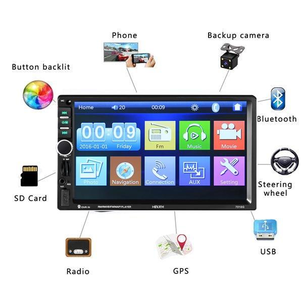"Car Stereo Double DIN 7"" Head Unit, GPS, LCD Touch Screen Bluetooth Player"