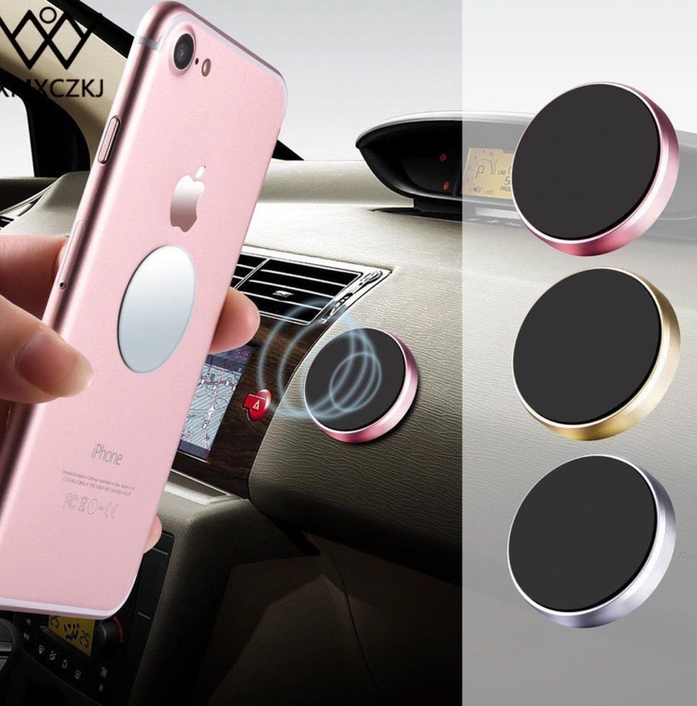 *** PAIR *** Magnetic Phone Holder for iPhone, Samsung (BLACK + SILVER)
