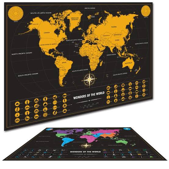 ** Deluxe ** Scratch Off World Map 70 x 52cm Wonders of the World