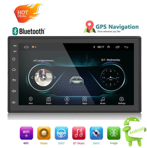 "Car Stereo 2 DIN 7"" MP5 Player with GPS Navigation, Bluetooth, USB, Android 8.1"