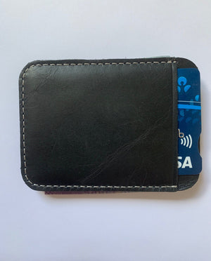 (BLACK) Leather Card Holder Head Layer Leather Retro Metal Money Clip