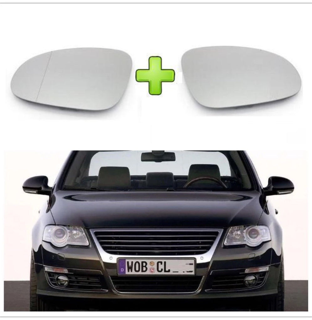 Volkswagen PASSAT Pair of Side Mirror Glass LEFT + RIGHT Clip On Type