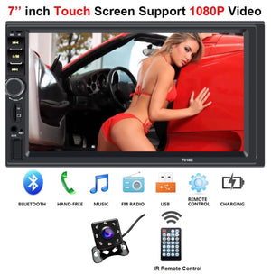 Car Stereo Double Din 7'' LCD Touch Bluetooth Car Radio Player Car Audio Aux FM + 8 IR Rear View Camera