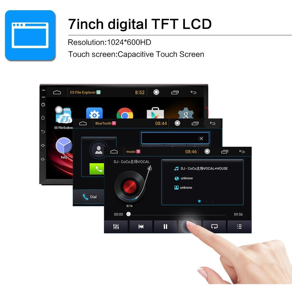 "Android 8.1 Car Stereo 2 DIN 7"" + ISO Harness, GPS Navigation, Rear Camera, Bluetooth, USB"