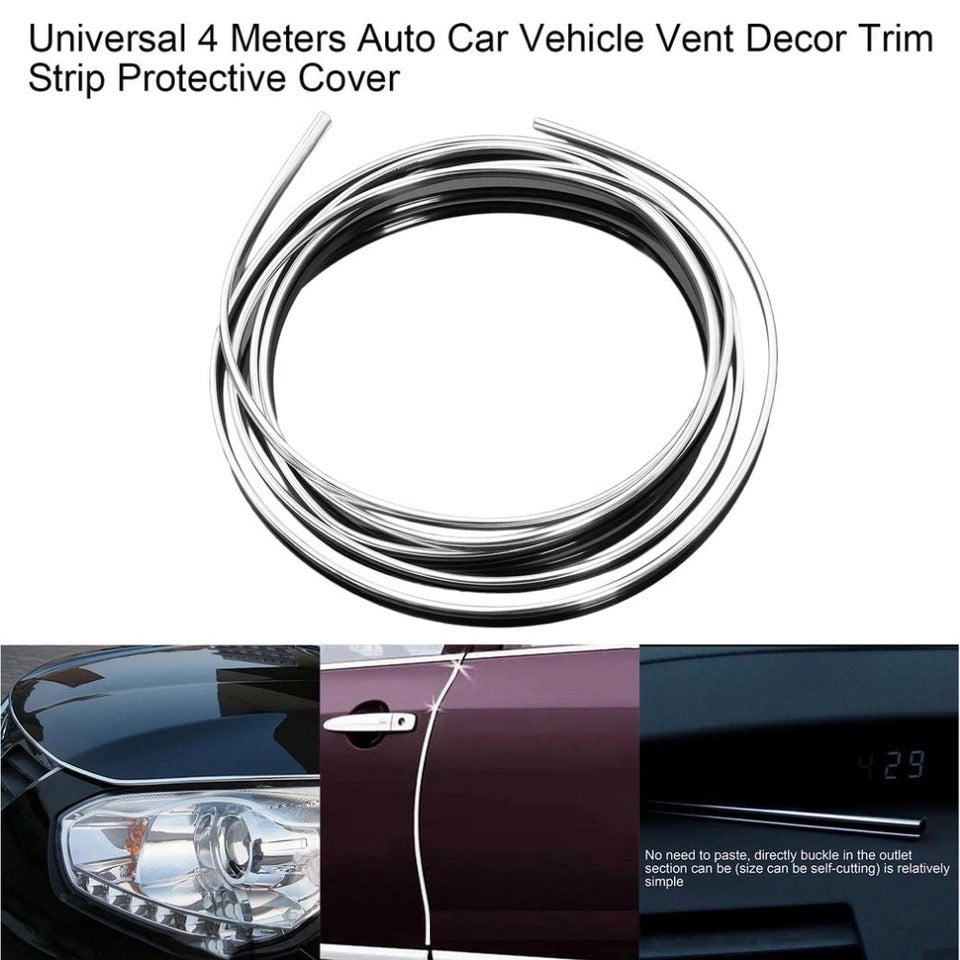 *** UNIVERSAL *** 4 Meters Car Vehicle Vent Decor Strip Chrome Plated Trim Strip Protective Cover