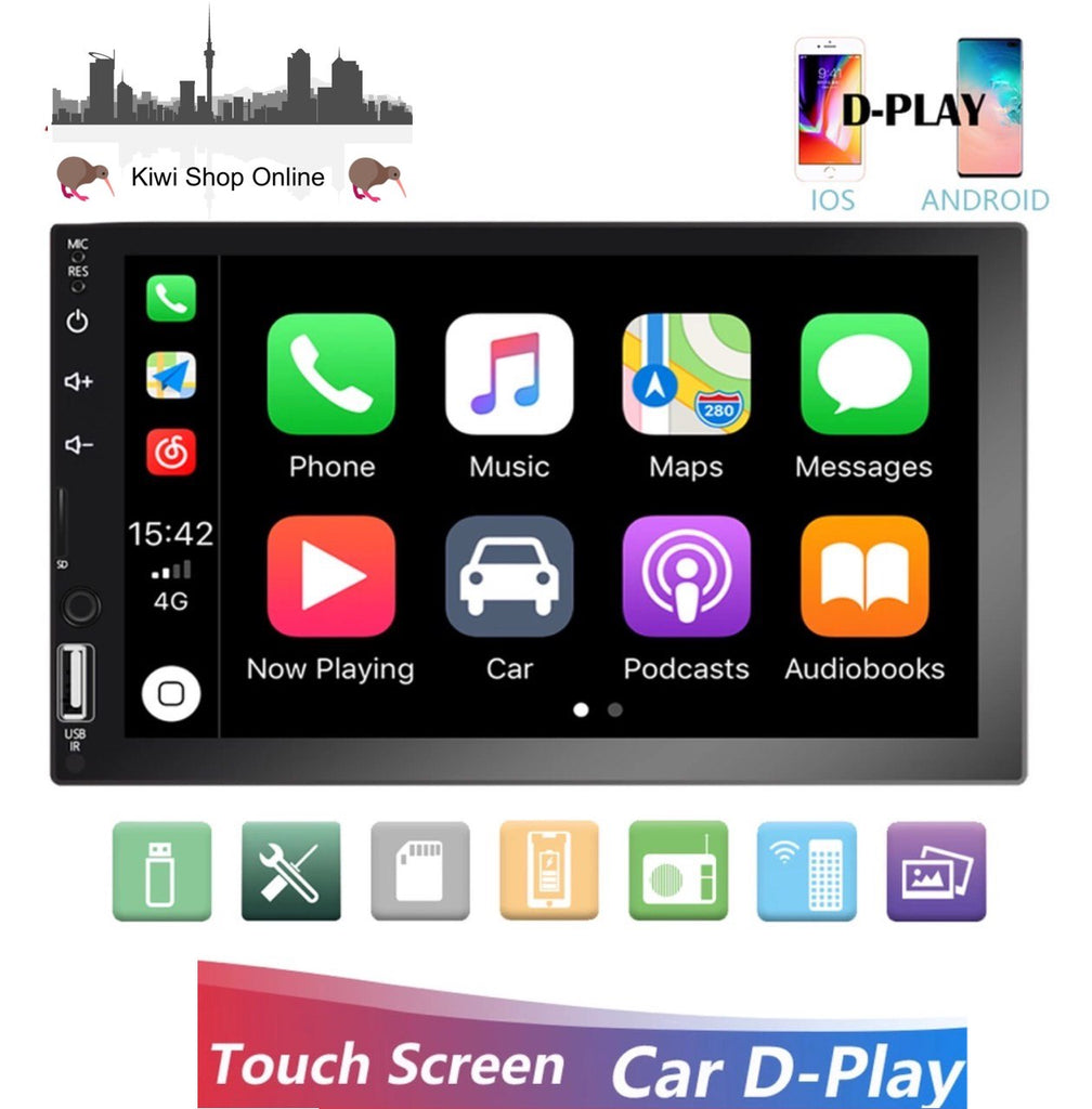 "Car Stereo Double DIN Head Unit, Bluetooth, 7"" Touch Screen Car Stereo Radio D-Play Mirrorlink"