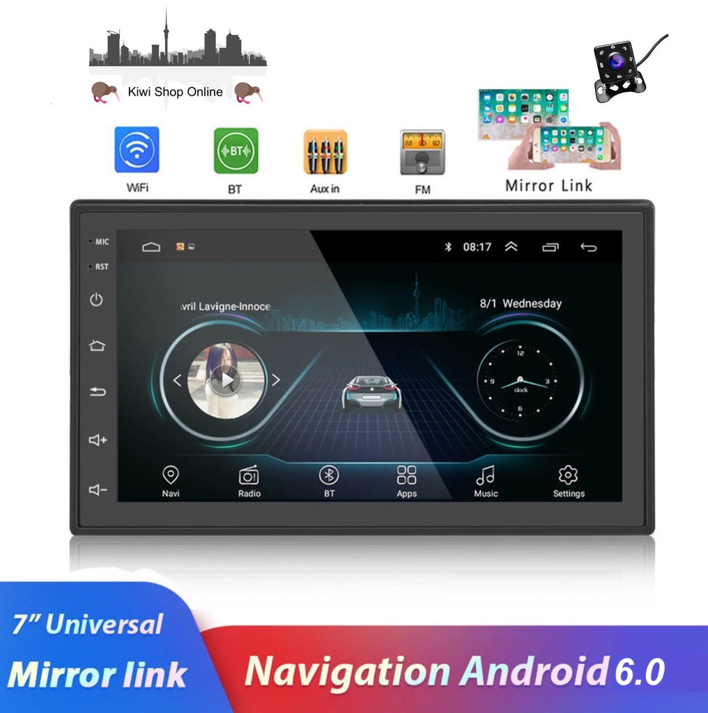 "Car Audio 2 DIN 7"" with 8IR Reversing Camera GPS Navigation, Bluetooth, USB, Android"