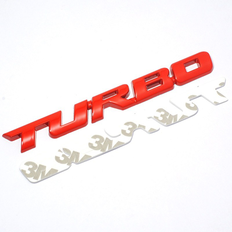 2PC x 3D Alloy Metal Letter Turbo Car Motorcycle Emblem Badge Sticker Decal Decor