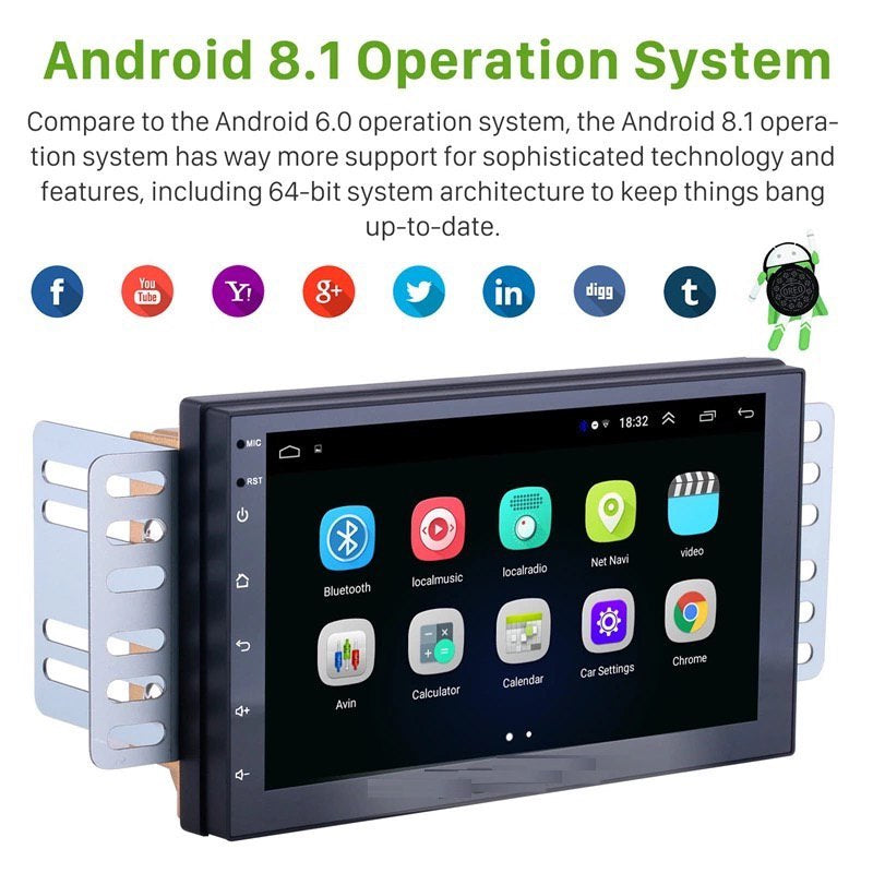 2 Din Car Stereo RAM 2G 32G Android 8.1, with Rear View Camera, GPS WiFi Universal Head Unit