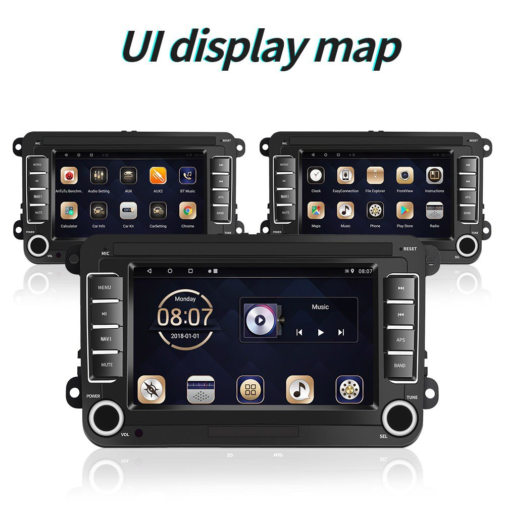 VW Android 8.0 Car Stereo 2DIN GPS 7'' + Wide Angle Rear View Camera Car Audio For VW Golf Passat Polo Skoda