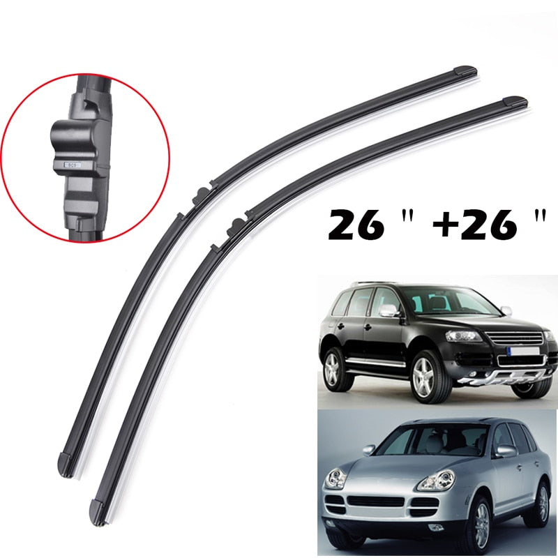 "26""26"" For Porsche Cayenne 2003 2004 2005 2006 For VW Touareg Windshield Wiper Blades Bracketless Windscreen Left Hand Drive"