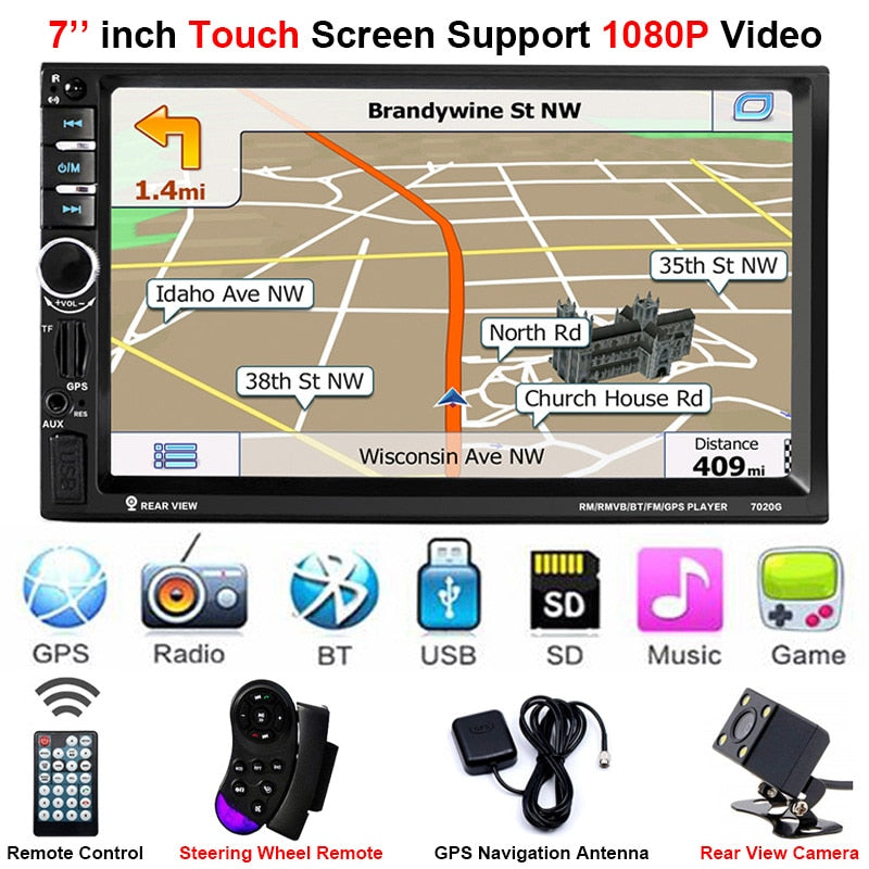 Car Stereo Double DIN Head Unit with Rear View Camera, GPS, Bluetooth, Remote