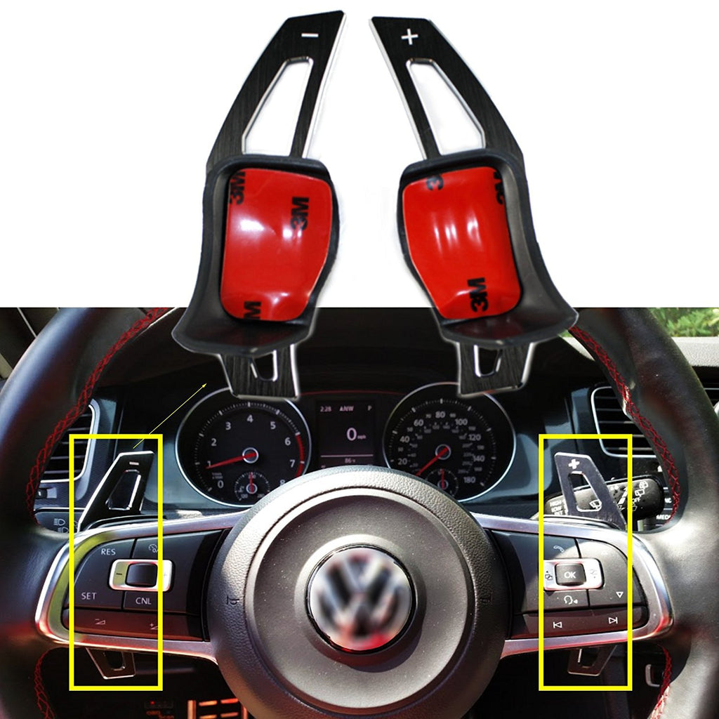 (BLACK) Steering Wheel Paddle Extension Set For VW Golf Jetta GTI MK5 MK6