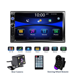 Car Stereo Double DIN Head Unit with Rear View Camera, Bluetooth, Remote