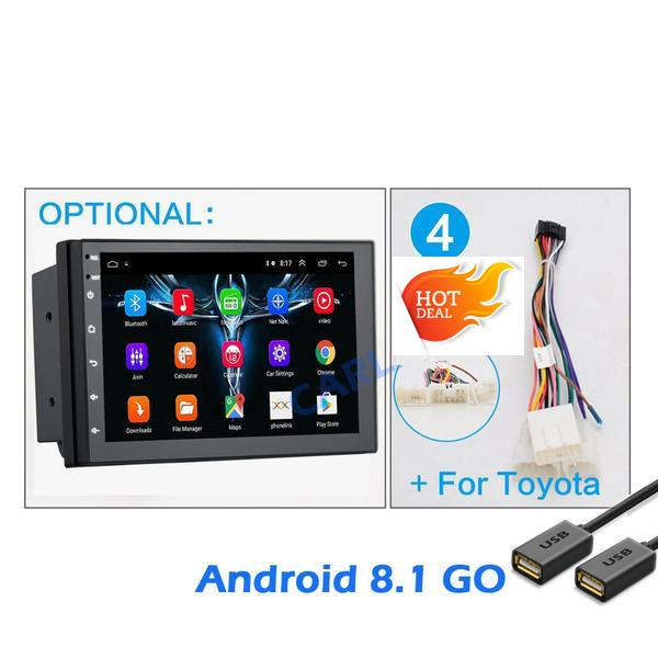 "Android 8.1 Car Stereo 2 DIN 7"" + Compatible with Toyota Harness, GPS Navigation, Bluetooth, USB"