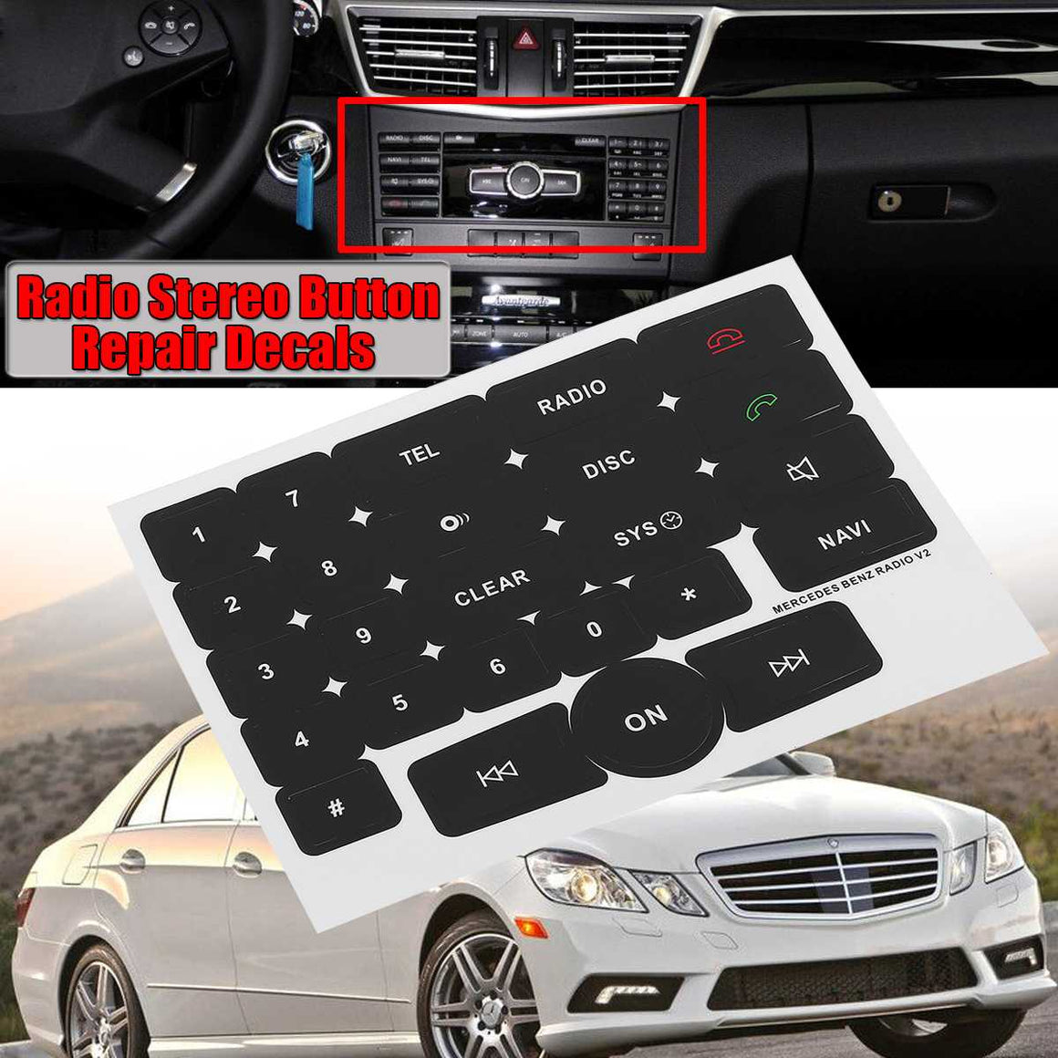Stereo Button Repair Decals Stickers For Mercedes For Benz Radio V2 Repair Car Stickers