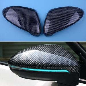 2Pcs Black Carbon Fiber Style ABS Side Rearview Mirror Cover Trim fit for VW Golf 7