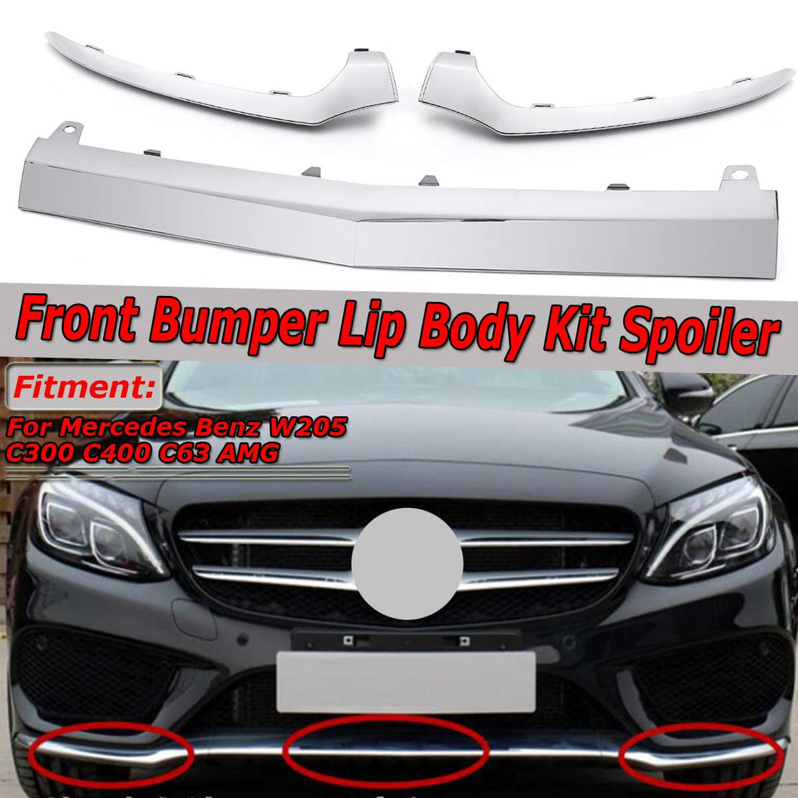 Chrome Front Lower Bumper Splitter Molding Cover Trim For Mercedes Benz W205 C300 C400 C63 For AMG
