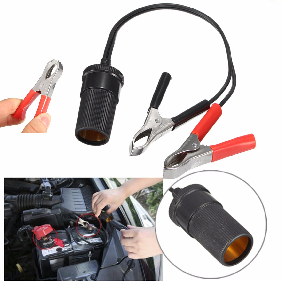 ** SPECIAL ** Cigarette lighter socket with alligator clips 12V