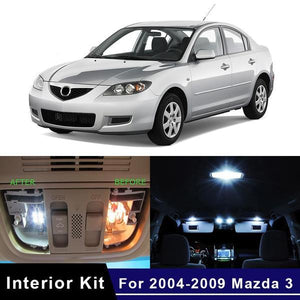 8Pcs White Canbus LED Lamp Car Bulbs Interior Package Kit For 2004-2009 Mazda 3