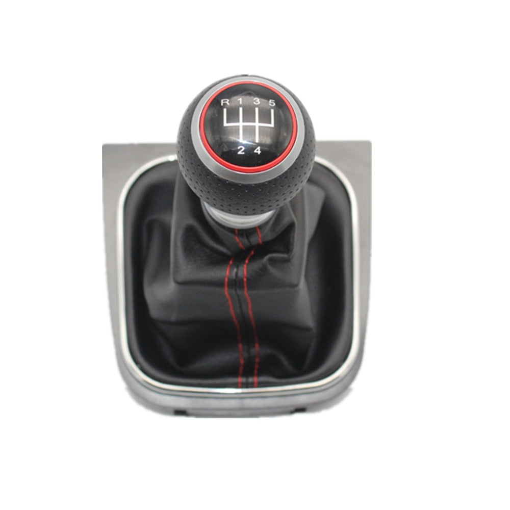 5 Speed Gear Stick Shift Knob With Leather Boot For VW Golf 5 MK5 R32 GTD GTI 2004 2005 2006 2007 2008 2009