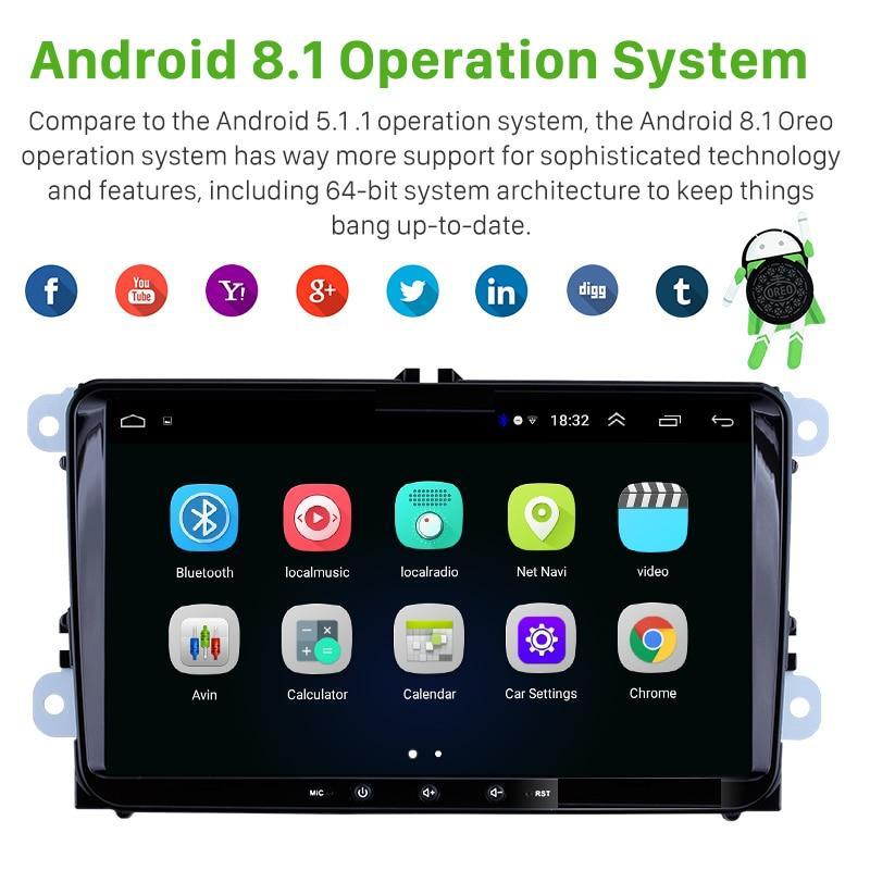 VW Android 9 Inch 2Din Stereo + Rear View Camera For VW Golf MK5 6 Polo Tiguan Passat b7 b6 Leon Skoda Octavia