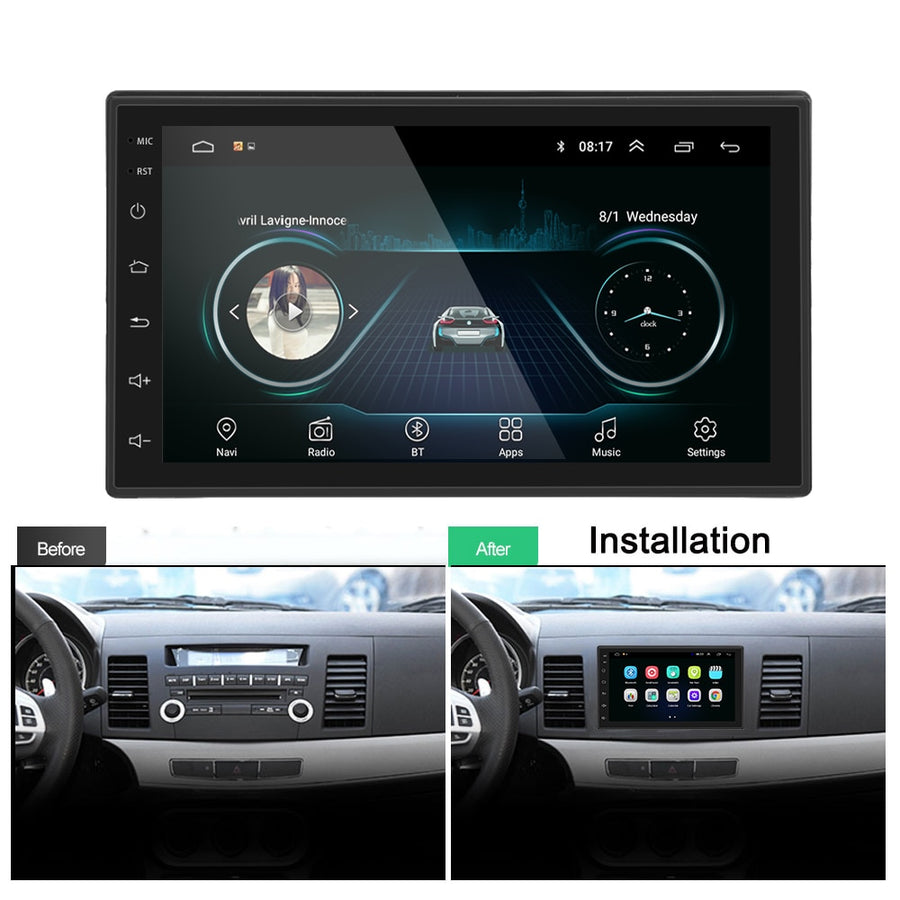 2 DIN Android Car Radio GPS Stereo 7'' MP5 Player Bluetooth WIFI GPS FM AM Audio Radio