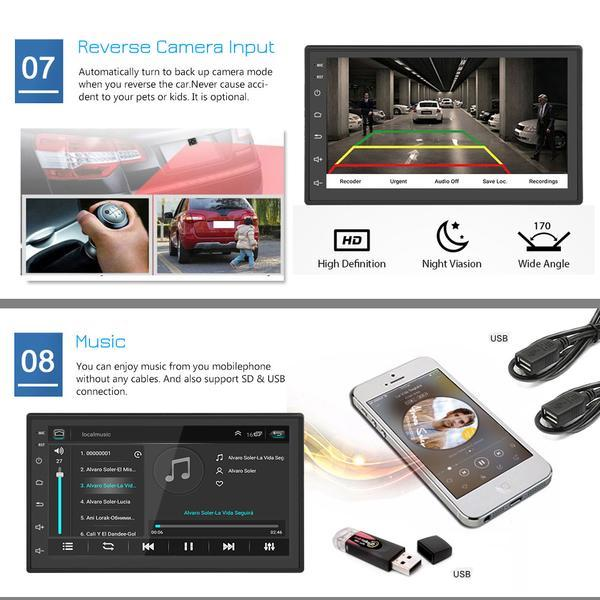 2 DIN Android 8.1 Car Stereo with Rear View Camera, GPS, 7'' MP5 Player Bluetooth WIFI FM Audio Radio