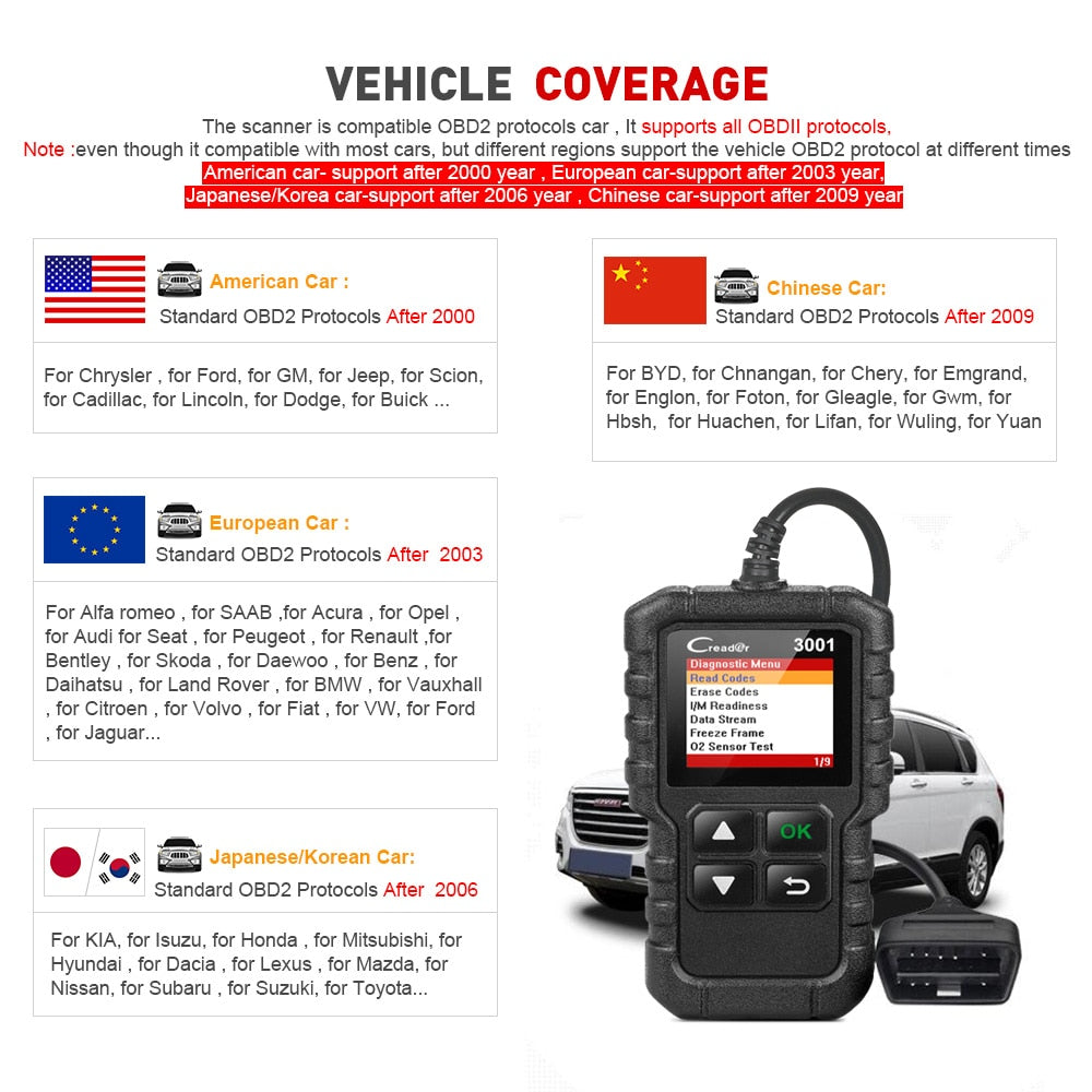LAUNCH X431 CR3001 Full OBD2 scanner OBDII Code Reader Car Diagnostic Tool Turn off Engine Light Free Update pk cr319 ELM327