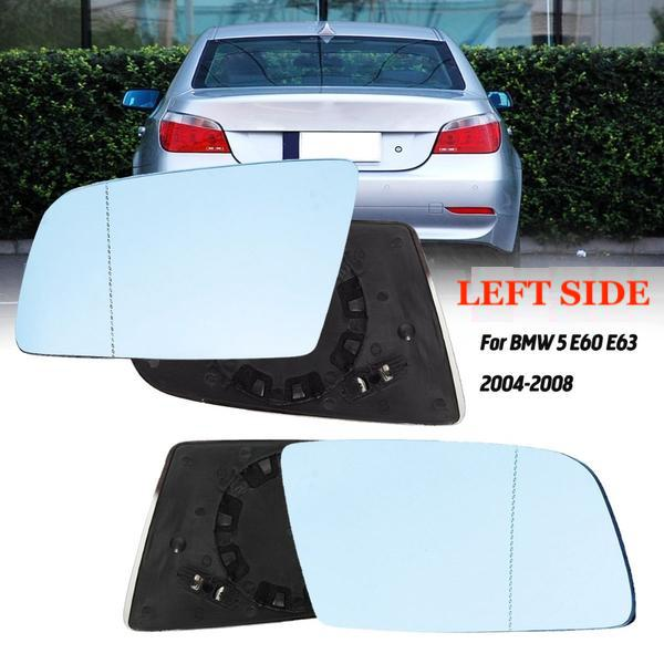 Left Side Blue Heated Electric Wide Angle Wing Mirror Glass For BMW 5 E60 E61 2003-2010