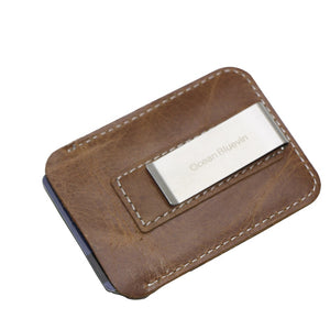 (BLACK) Leather Card Holder Leather Retro Metal Money Clip