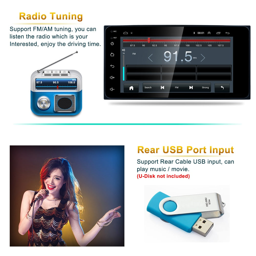 **SPECIAL** Android 7'' 2 Din GPS Navigation Car Radio Multimedia Video Player Bluetooth Mirror Link Stereo For Toyota