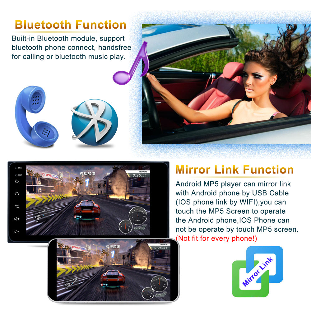 Android 7'' 2 Din GPS Navigation Car Radio Multimedia Video Player Bluetooth Mirror Link Stereo Compatible with Toyota