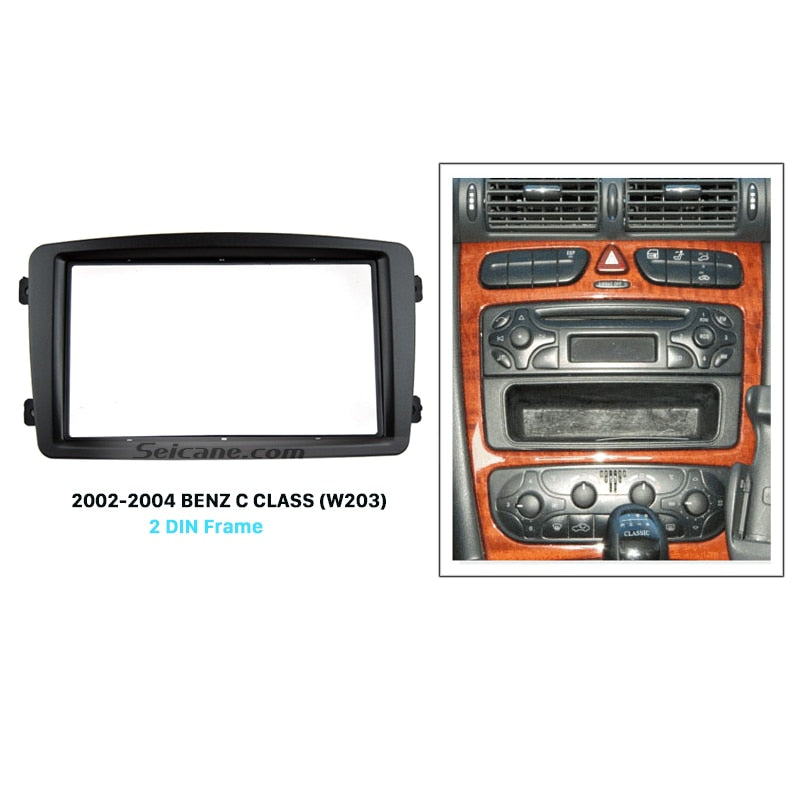 Double Din Car Radio Fascia for 2002-2004 Mercedes BENZ C CLASS W203 DVD Player Panel Kits Stereo Audio Dash Frame