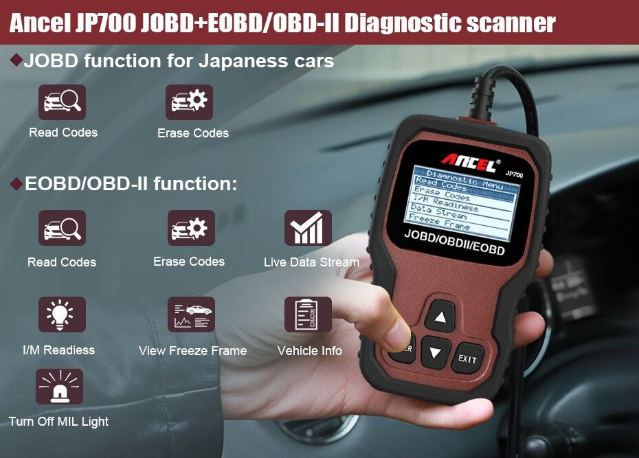 JOBD OBD2 Scanner for Japanese Car Automotive Diagnostic Tool to suit Toyota Nissan Honda Mazda Mitsubishi Scanner Tool
