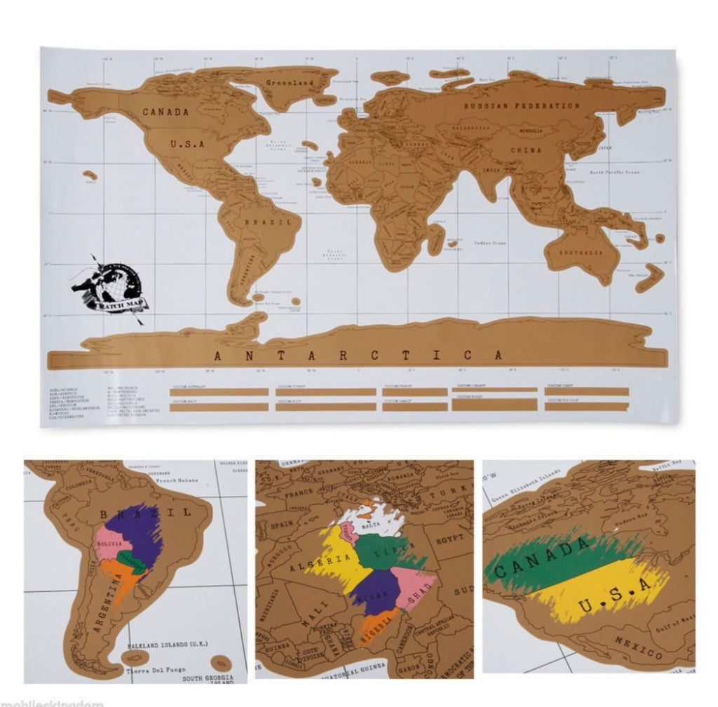 **DEAL** Deluxe White scratch map world map Scratch off Travel Map 88x52