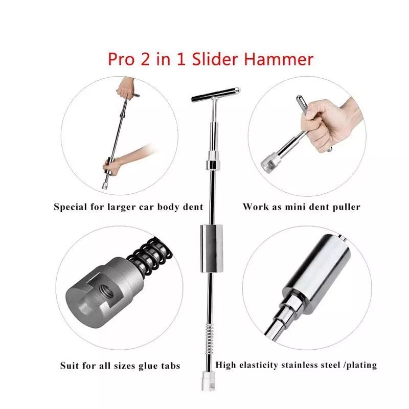 Paintless Dent Repair Tools Dent Puller Slide Hammer Puller Tabs Suction Cup Kit PDR