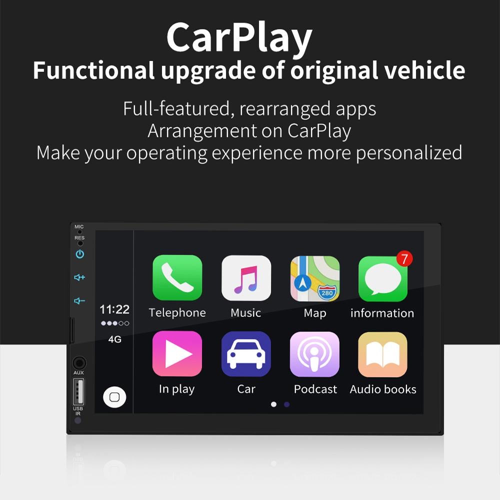 "Apple CarPlay / Android Auto Car Stereo Double DIN Head Unit, Bluetooth, 7"" Touch Screen Car Stereo Radio CarPlay Mirrorlink"