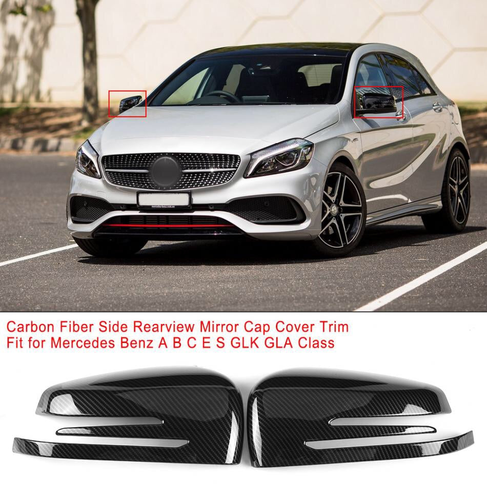 1 Pair Rearview Mirror Cover Trim for Mercedes Benz A B C E GLA Class W204 W212