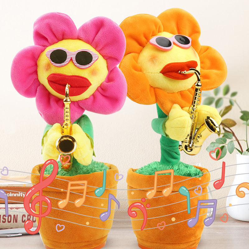 Today 60% OFF - Singing Dancing Saxophone Soft Plush Potted Sunflower