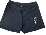 Black lycra shorts with crossover detail in the front
