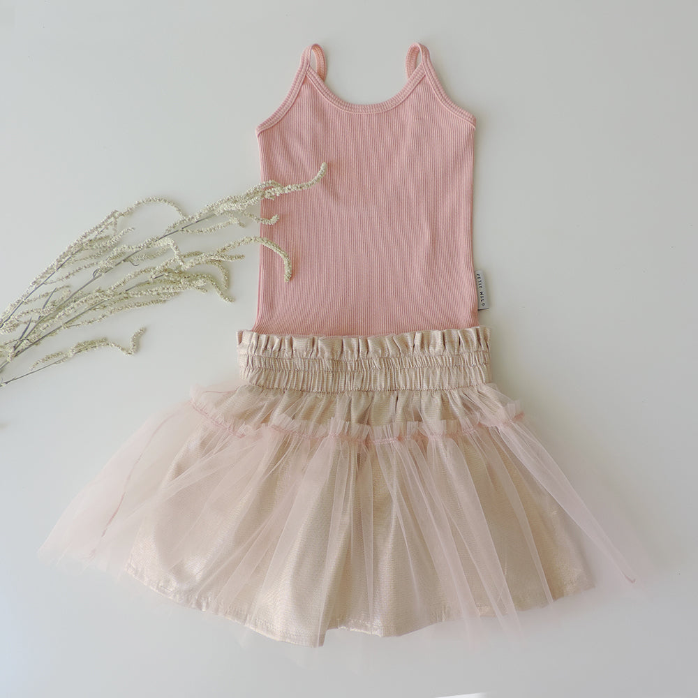 PEACH GOLD TUTU DRESS
